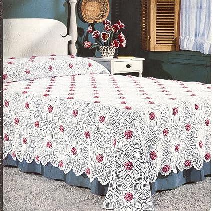 Amazon Vintage Crochet Pattern To Make Motif Block Rose And