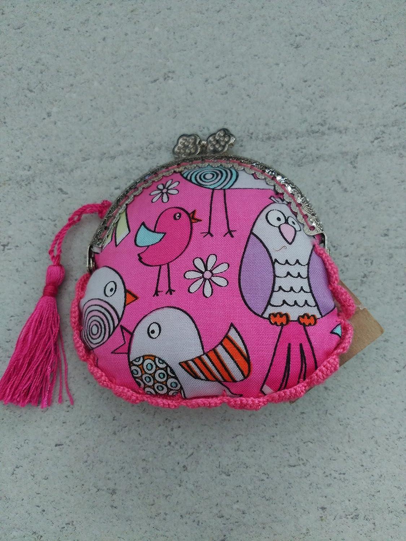 Monedero hecho a mano tela pájaros: Amazon.es: Handmade