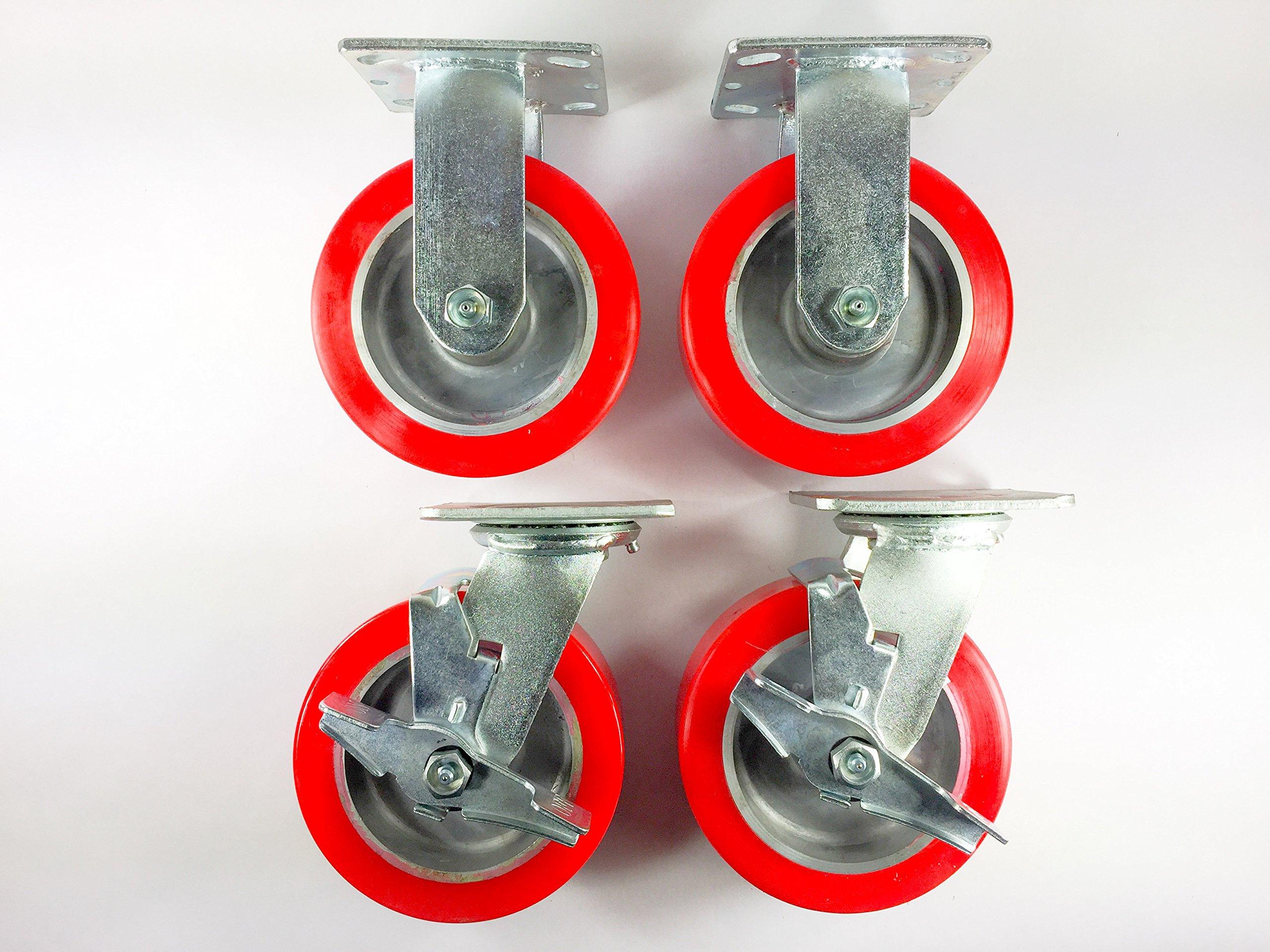 6'' X 2'' Polyurethane on Aluminum Caster - Rigid (2ea) & Swivel with Brake (2ea)