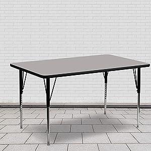 Flash Furniture 24''W x 60''L Rectangular Grey HP Laminate Activity Table - Standard Height Adjustable Legs
