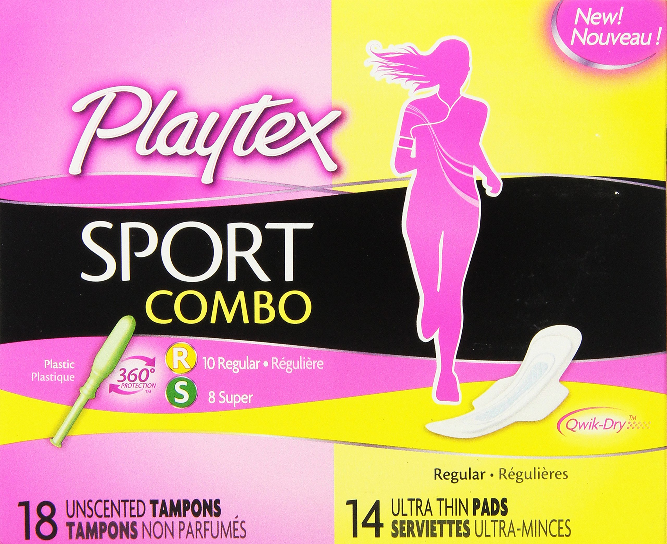Playtex Sport Combo - 18 Unscented Tampons, 14 Ultra Thin Pads, 32 Count Total
