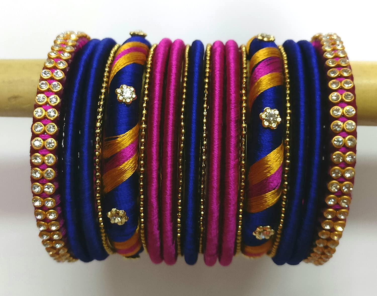 Buy Krisha Silk Thread Jewellery Purple And Blue Silk Thread Bangles For Women 2 6 At Amazon In
