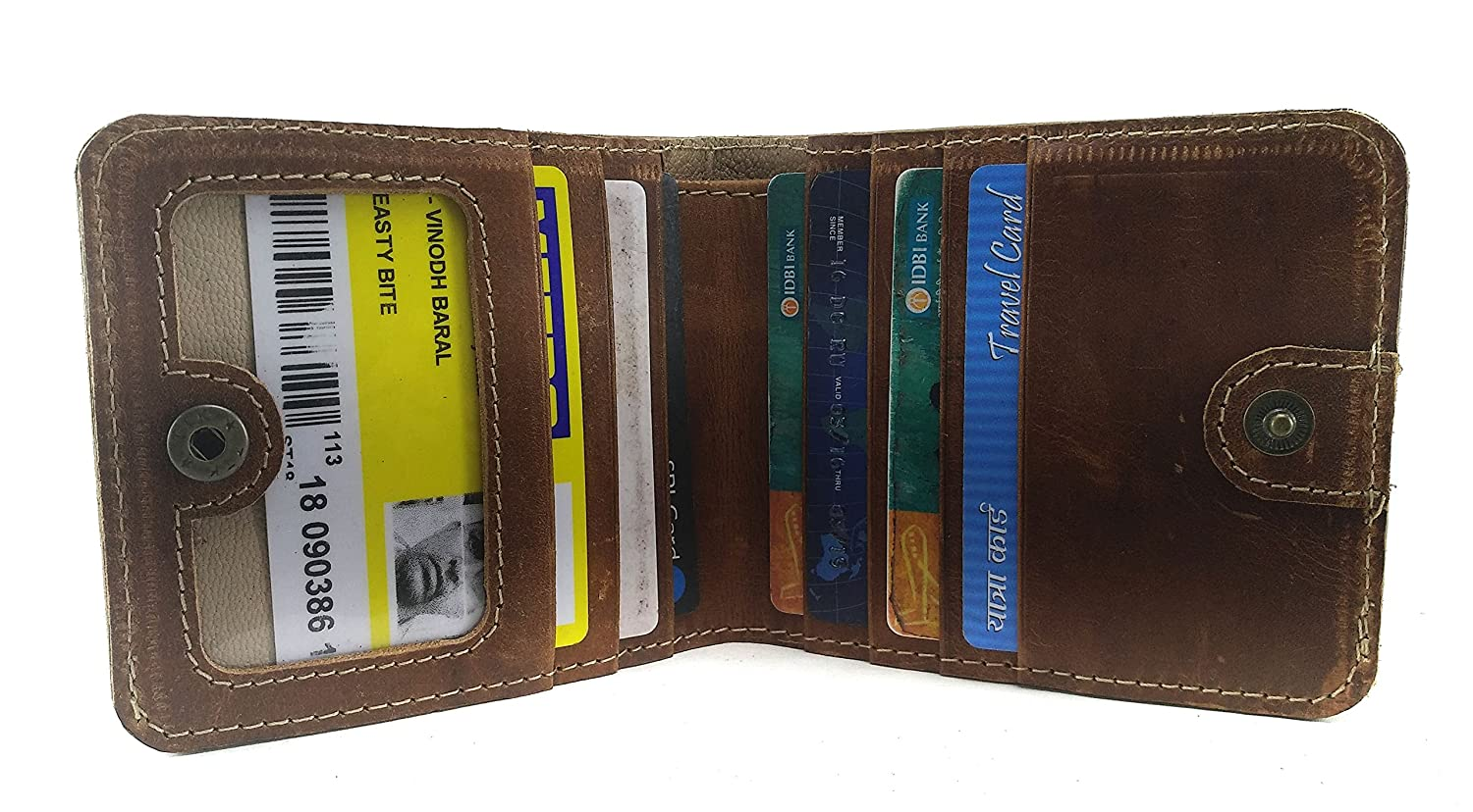 Chalk Factory Genuine Leather Buttoned Wallet with Multiple Card Slots