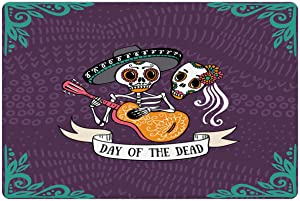 Ambesonne Pet Mat for Food and Water, Rectangle Non-Slip Rubber Mat for Dogs and Cats, Invitation to Traditional Celebration Party with Mexican Music Performance, Purple Teal