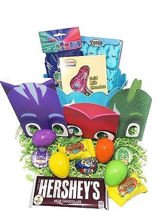 PJ Masks Easter Basket Bundle with PJ Masks Toys, Candy, and Easter Eggs