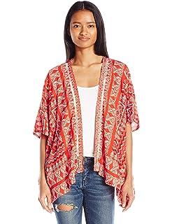 dc4a285b94a MissShorthair Womens Loose Chiffon Kimono Blouse Floral Print ...