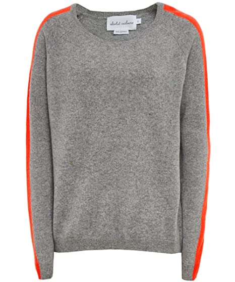 9cf7a2b3bc55f5 Absolut Cashmere Women's Cashmere Sleeve Stripe Jumper Grey & Orange: Amazon .co.uk: Clothing
