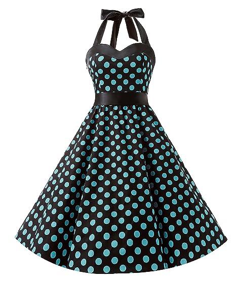 01511e48e51b Dresstells® Women's 1950s Dress Retro Halter Polka Dot Vintage Audrey  Rockabilly Cocktail Party Dress Black