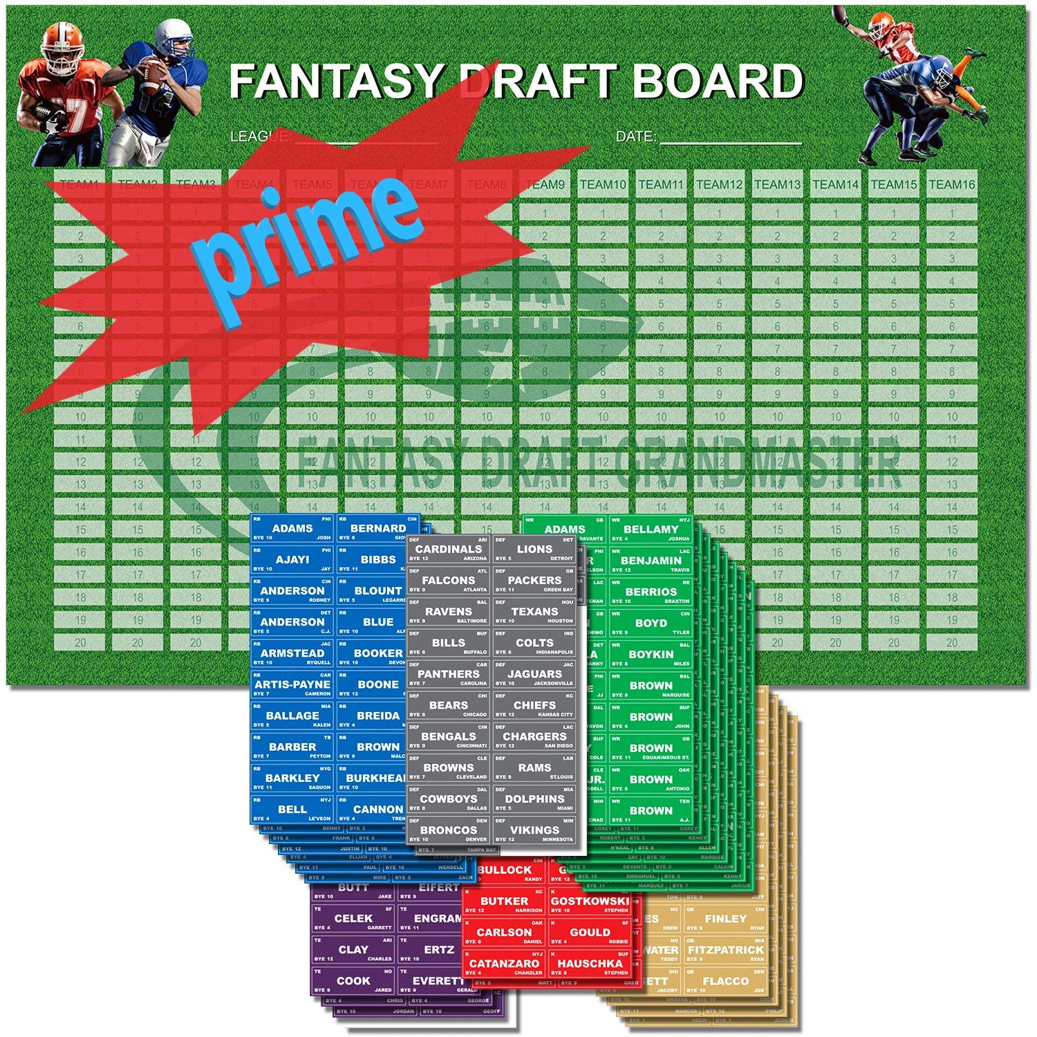 Fantasy Football Draft Board 2019 Kit | 72'' x 48'' | 16 Teams | 540 Player Sticker Labels