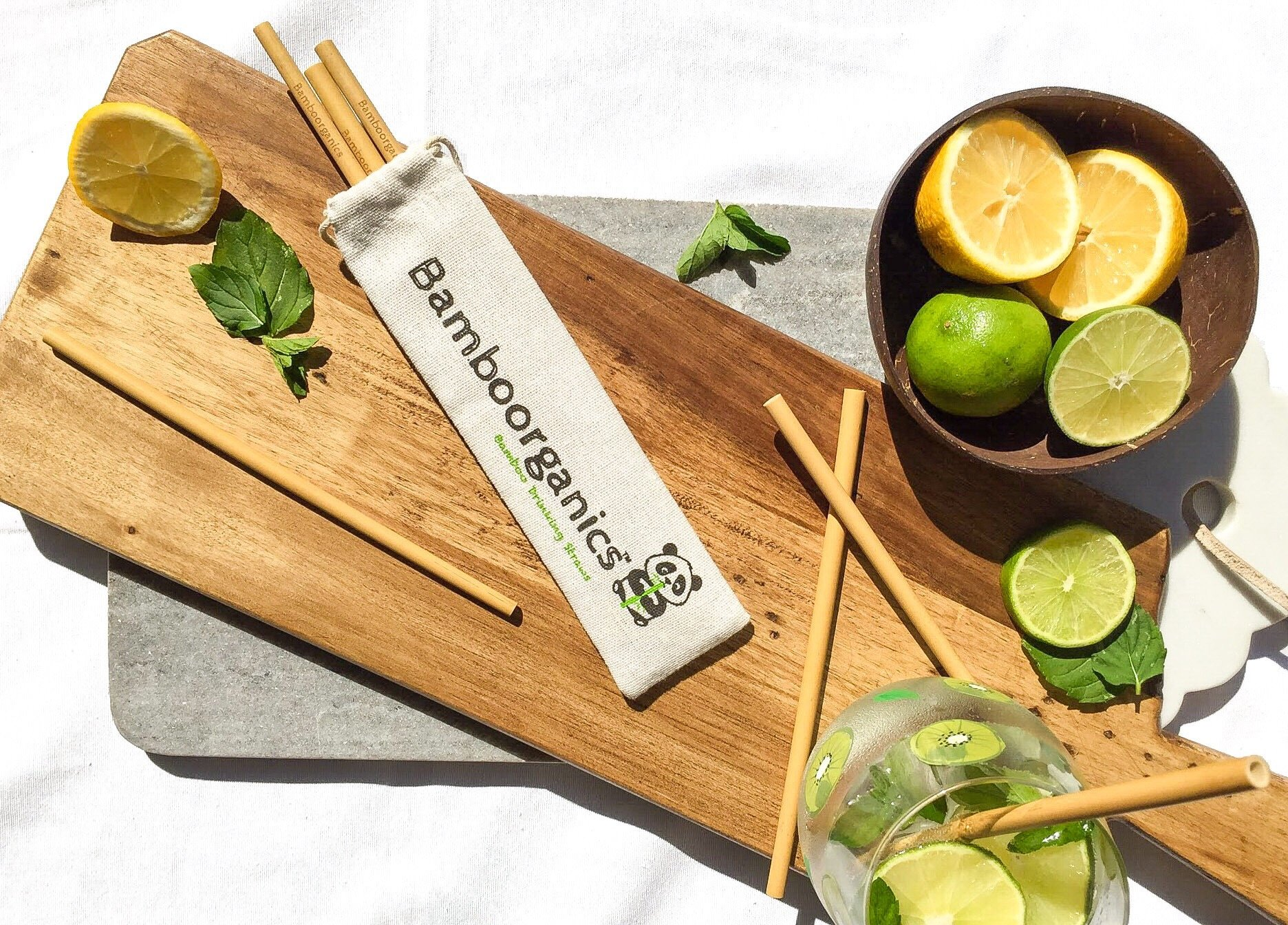 Zero Waste, Reusable, Premium Bamboo Drinking Straws & Natural Cotton Travel Bag | Large Mouth Straw Set of 10 with 2 Cleaning Brushes | Eco-Friendly, Biodegradable | 8in Long by Bamboorganics (Image #5)