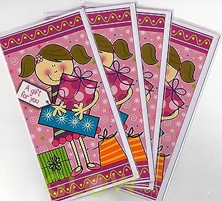 Glow Confezione da 4 buste regalo per denaro, design divertente con ragazza e regali, vivace e colorato, biglietti vuoti con disegni assortiti per occasioni speciali
