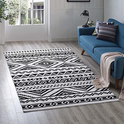 Modway Haku Geometric Moroccan Tribal 5×8 Area Rug With Contemporary Design In Black and White