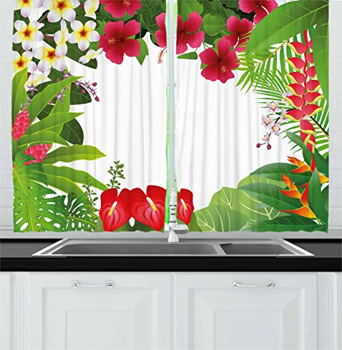 Ambesonne Leaf Kitchen Curtains, Hibiscus Plumeria Crepe Gingers Anthurium Leaves Frame Image Print, Window Drapes 2 Panel Set for Kitchen Cafe Decor, 55 X 39 , Hot Pink White Red and Green