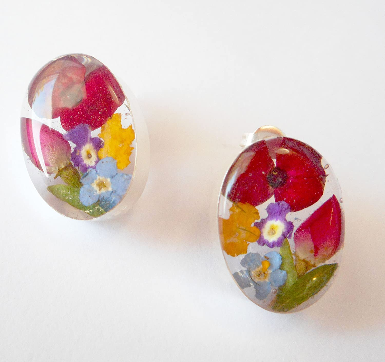 925 Silver Dry Pressed Flowers oval earrings multi-color Anna Dream