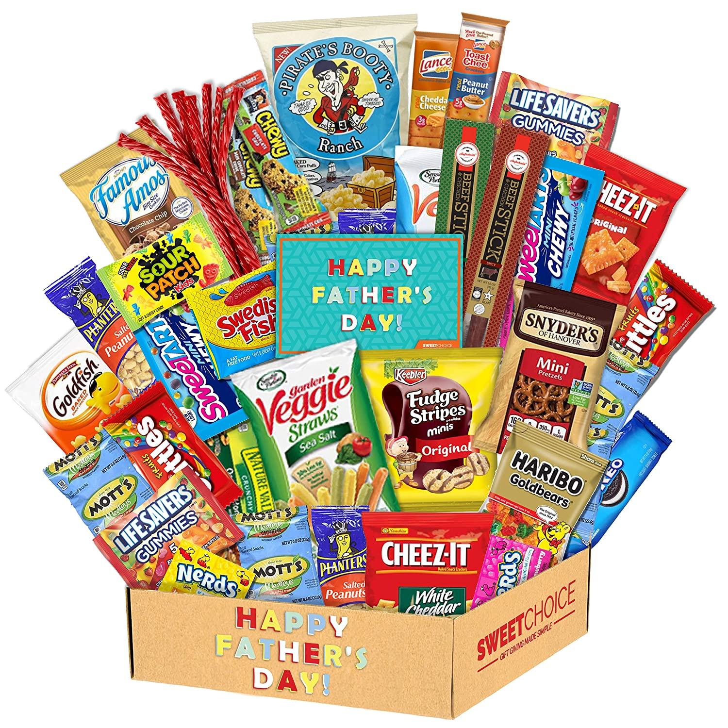 Fathers Day Gift Basket Gift For Dad Care Package (50 Count)Ultimate Men's box Sampler Mixed Bulk Bars,Beef Jerkey, Cookies, Chips, Candy Snacks Variety Box Pack Office Friends Family Military Treats