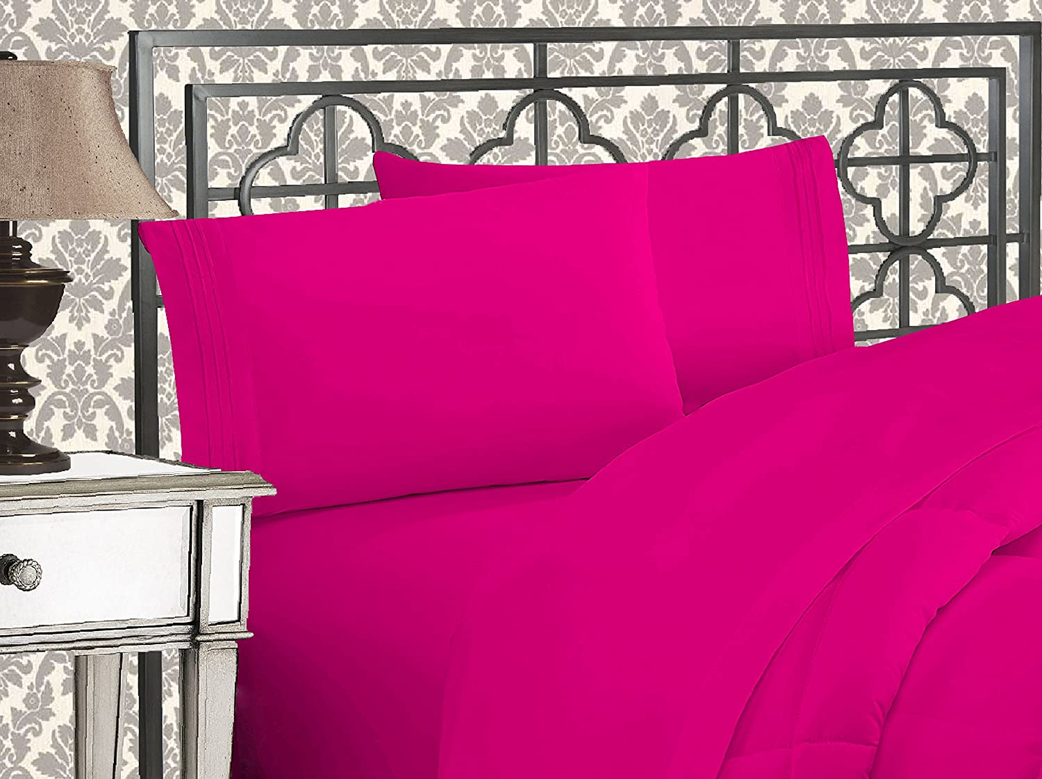 Elegant Comfort Luxurious 1500 Thread Count Egyptian Quality Three Line Embroidered Softest Premium Hotel Quality 4-Piece Bed Sheet Set, Wrinkle and Fade Resistant, Queen, Hot Pink
