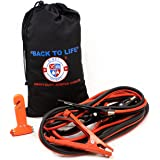 Jumper Cables 4 Gauge, Extra Long (20 Feet) High Capacity (400 AMP) Tough Insulation, with Heavy Duty Alligator Clamps - High Performance Battery Booster Cable w/ Bag & Emergency Tool Window Breaker