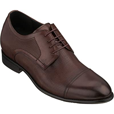 CALTO Men's Invisible Height Increasing Elevator Shoes - Brown Premium Leather Lace-up Formal Derby Oxfords - 2.8 Inches Taller - Y4232   Oxfords