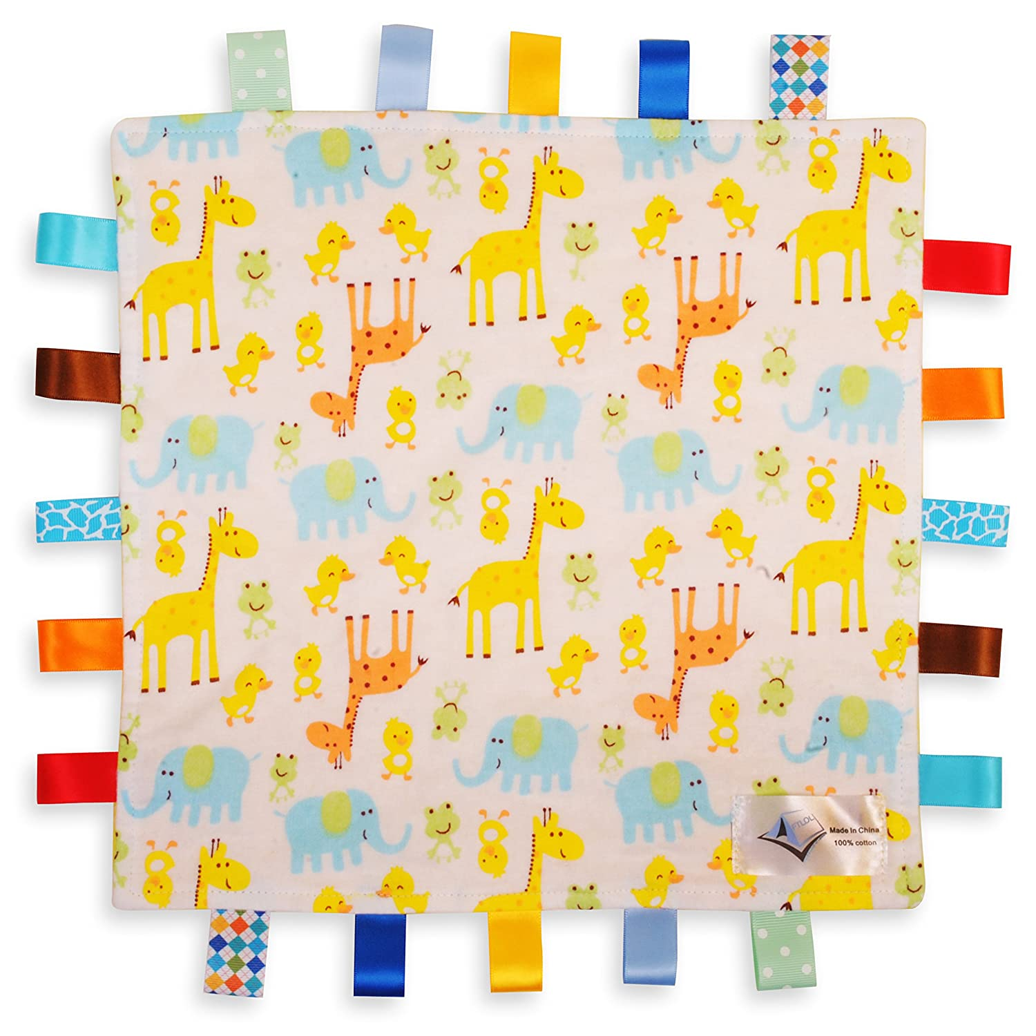 White Baby Tag, Taggy Blanket - Giraffe, Elephant and Chick Animals Tag with Plain Yellow Textured Underside For the Love of Leisure