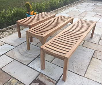 Solid Sustainable Teak Backless Garden Bench 120cm 2 seater