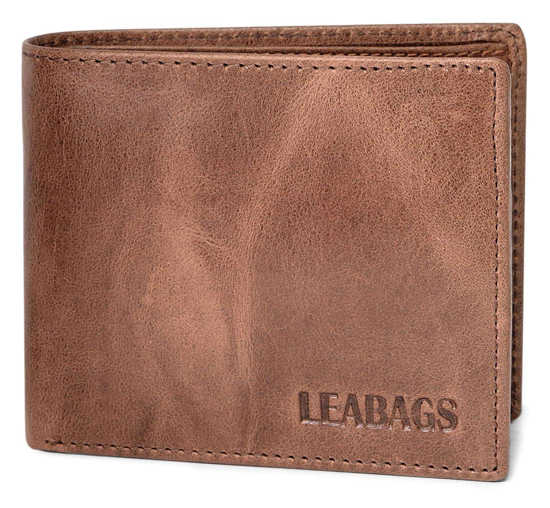 LEABAGS Springfield portafoglio vintage in vera pelle di bufalo - Burgundy