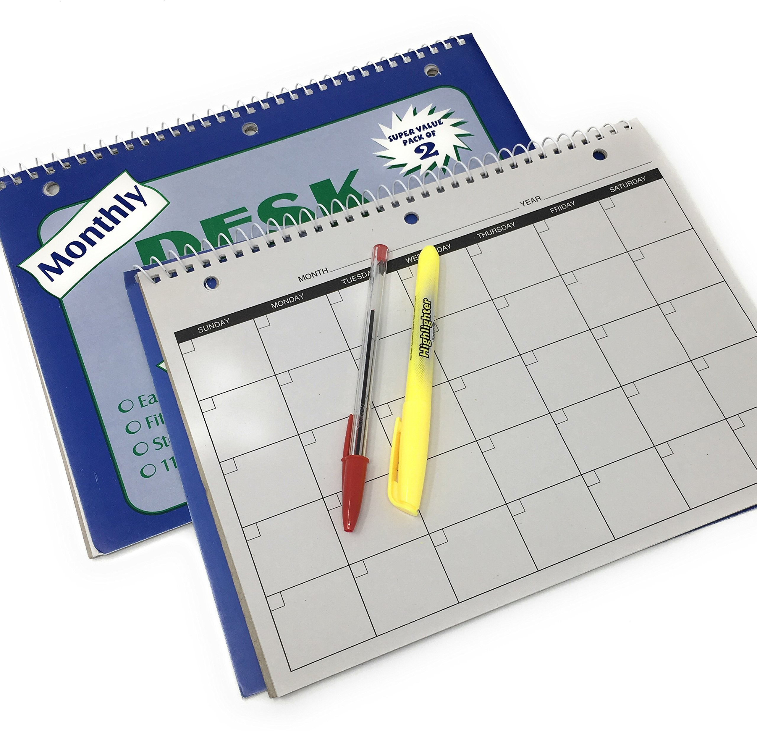 2-12 Month Undated Planners w/Bic Cristal Red Pen & Yellow Highlighter Bonus Bundle
