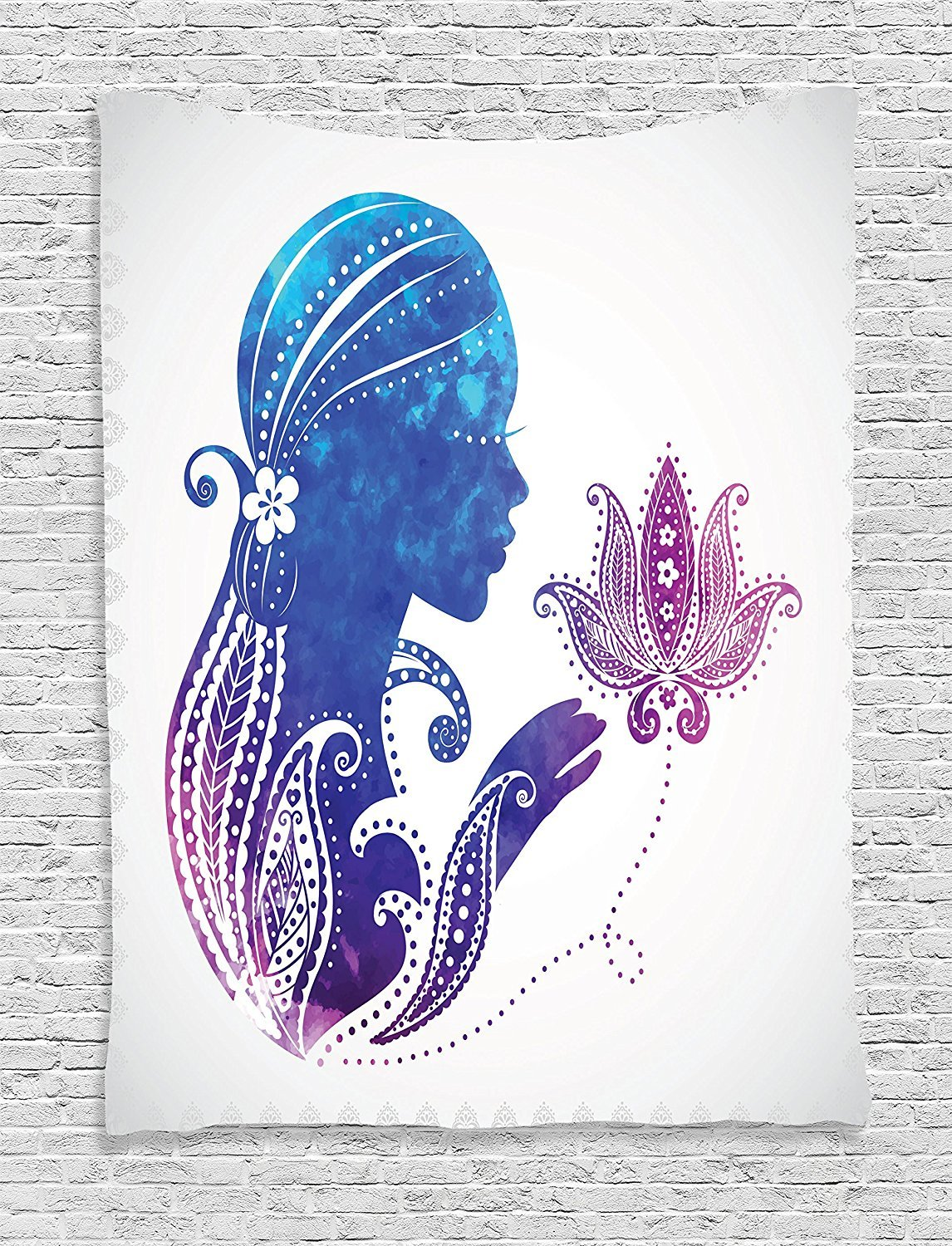 Teen Girls Decor Tapestry Wall Hanging, Girl's Silhouette with Flowers on Her Hair Floral Ornaments Meditation Spa Artwork, Bedroom Living Room Dorm Decor, 60 W x 80 L Inches, Purple Blue
