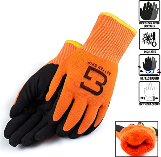 BGWANS-LM Safety Winter Insulated Double Lining Rubber Coated Work Gloves