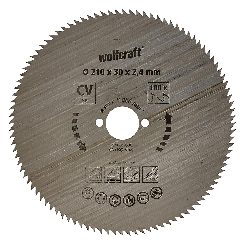 Wolfcraft 6281000 - Disco de sierra circular CV, 100 dient., serie azul Ø 210 x 30 x 2,4 mm para ingletadora serie azul Ø 210 x 30 x 2