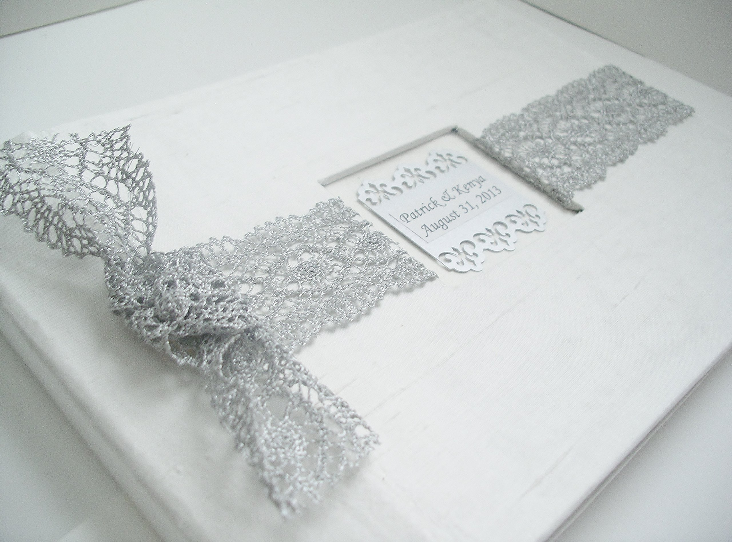Lace Wedding Guest Book - Bridal Lace GuestBook - White and Silver French Lace Guestbook - Personalized