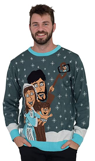 Jesus Joseph Mary Selfie Stick Family Picture Ugly Christmas Sweater