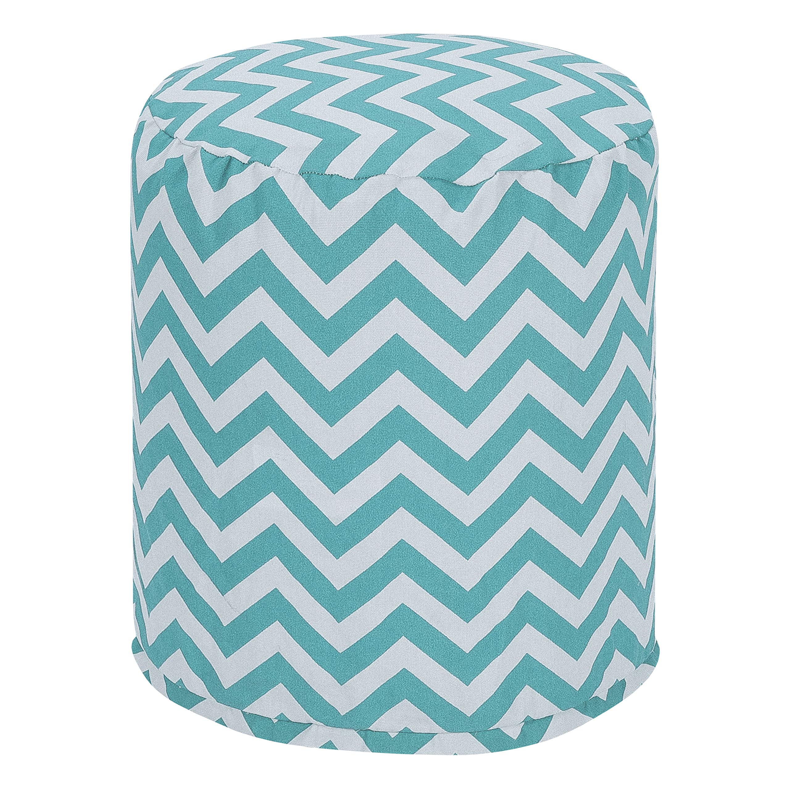 Majestic Home Goods Teal Chevron Indoor/Outdoor Bean Bag Ottoman Pouf 16'' L x 16'' W x 17'' H