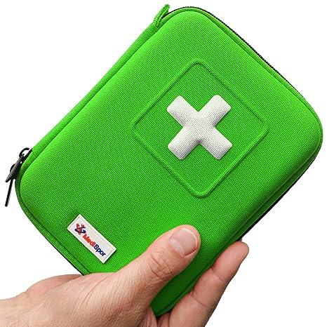 Botiquín de primeros auxilios de 100 piezas MediSpor, estuche semirrígido (verde)