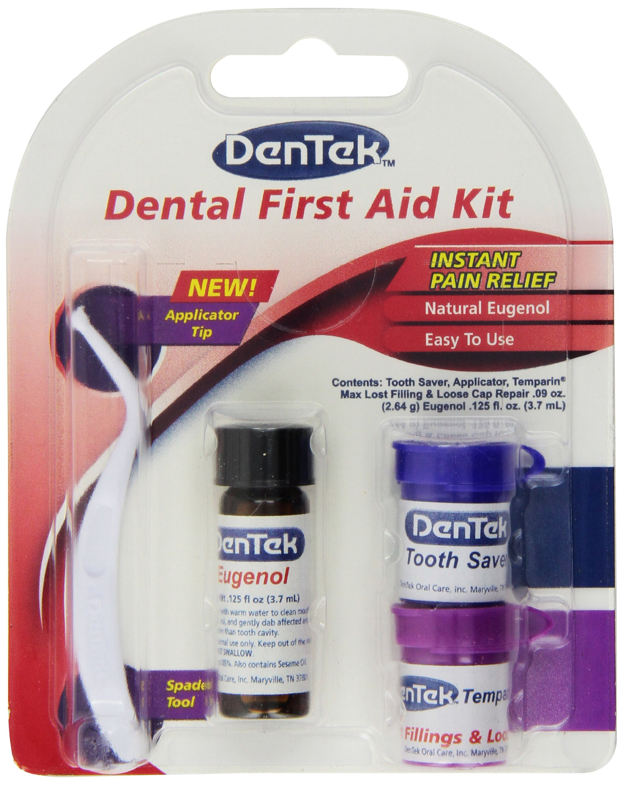 DenTek Toothache Kit | Instant Pain Relief | Contains Applicator, Toothache Medication, Temporary Filler, and Tooth Saver Jar