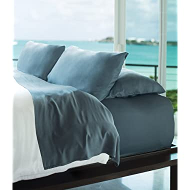 Cariloha Resort Bamboo Sheets 4 Piece Bed Sheet Set - Luxurious Sateen Weave - 100% Viscose from Bamboo Bedding (Blue Lagoon, King)