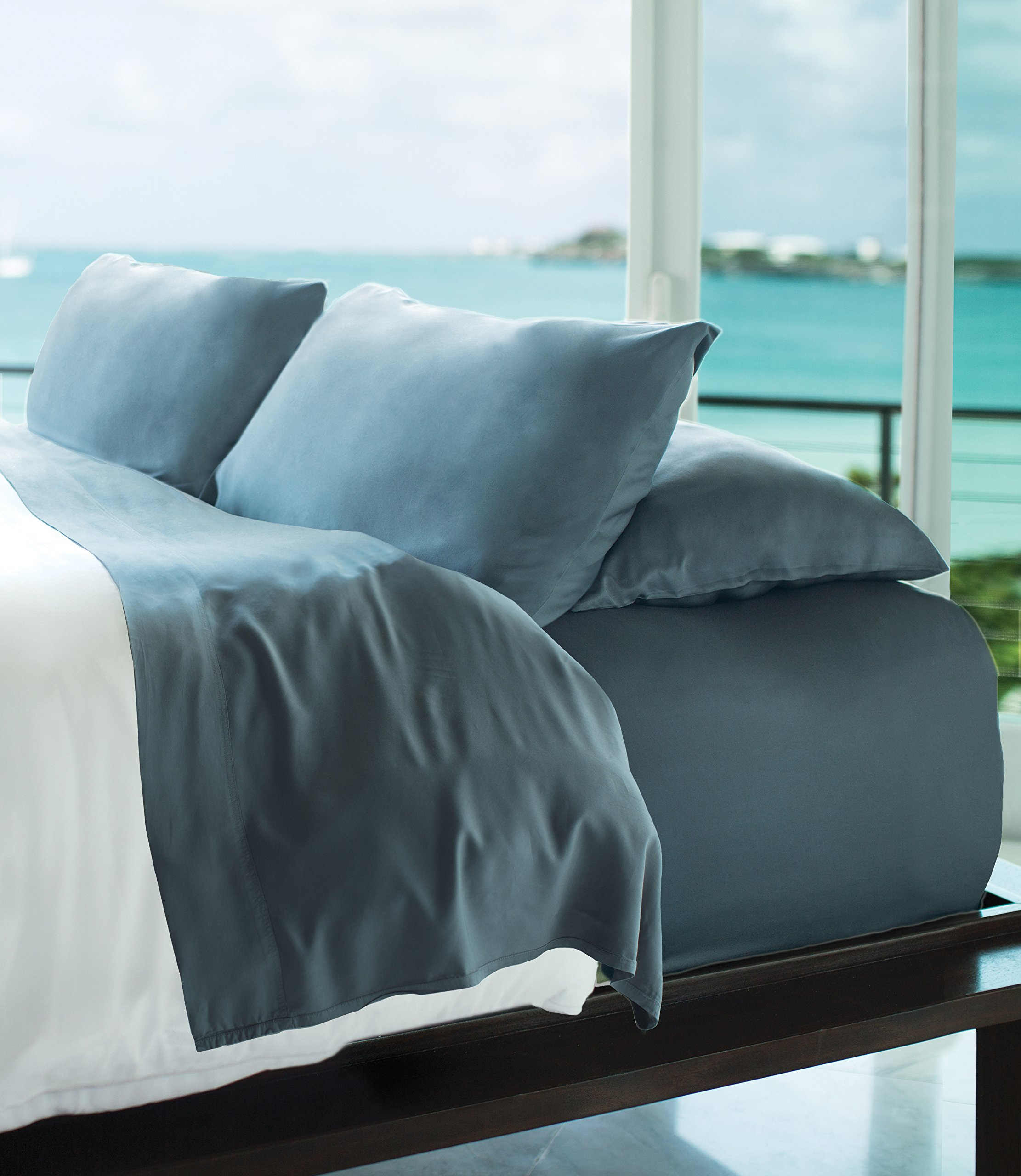 Resort Bamboo Sheets by Cariloha - 4 Piece bed Sheet Set - Luxurious Sateen Weave - 100% Viscose From Bamboo Bedding (Blue Lagoon, King)