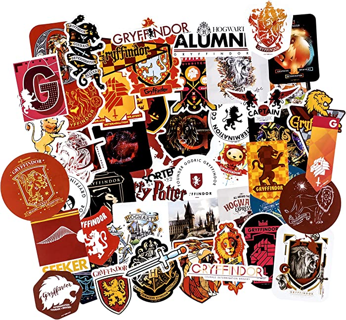 Conquest Journals Harry Potter Gryffindor Vinyl Stickers, Set of 50, Waterproof and UV Resistant, Great for All Your Gadgets, Potterfy All The Things