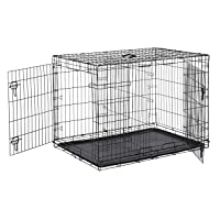 AmazonBasics Double Door Folding Metal Cage Crate For Dog or Puppy - 42 x 28 x 30 Inches