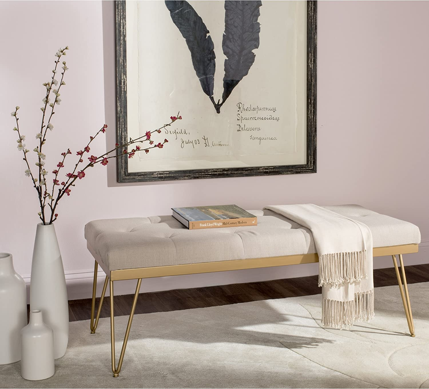 Safavieh Home Collection Marcella Bench, Beige/Gold