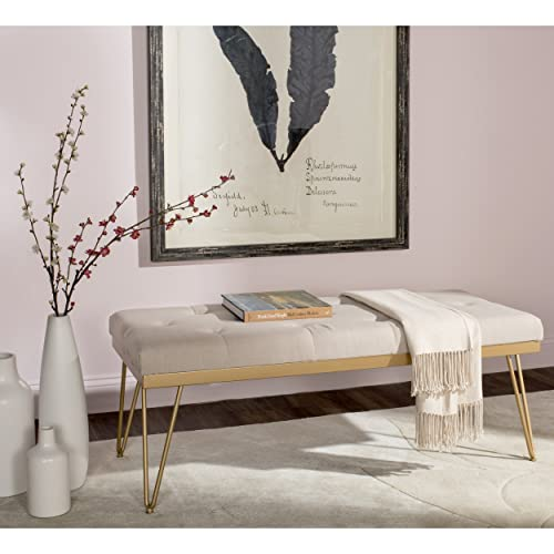 Safavieh Home Collection Marcella Bench, Beige Gold