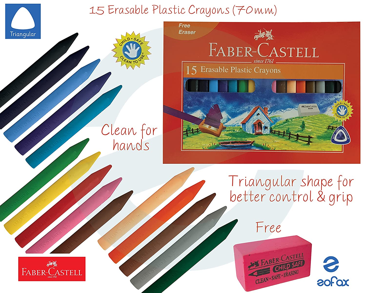 Faber Castell - Pack of 15 Erasable Plastic Crayons 70mm - Assorted Colours FABER CASTELL I