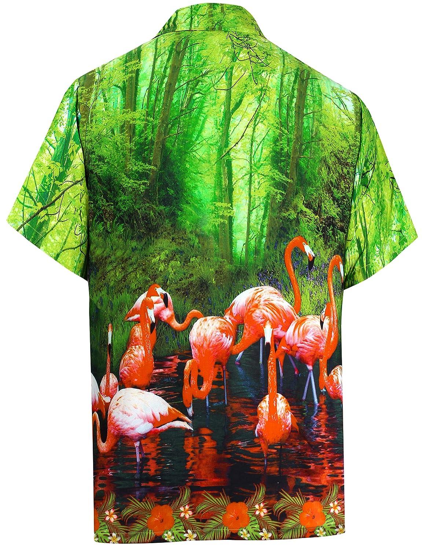 TALLA S - Pecho Contorno (in cms) : 96 - 101. LA LEELA Loro botón Casual Playa Vertical descendente Aloha Hawaiano Hombres Camisa Verde
