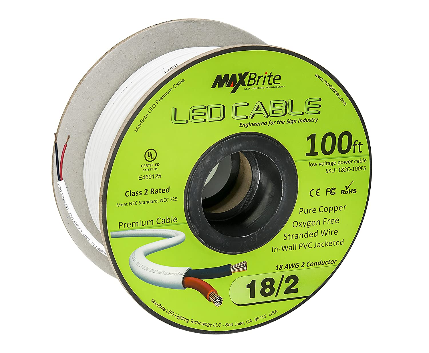 18awg Low Voltage Led Cable 2 Conductor Jacketed In Wall Wiring Channels Pvc Speaker Wire Ul Cul Class 50 Ft Reel Home Improvement