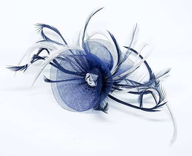 b799543dff271 Navy blue fascinator with Silver on a comb  Amazon.co.uk  Handmade