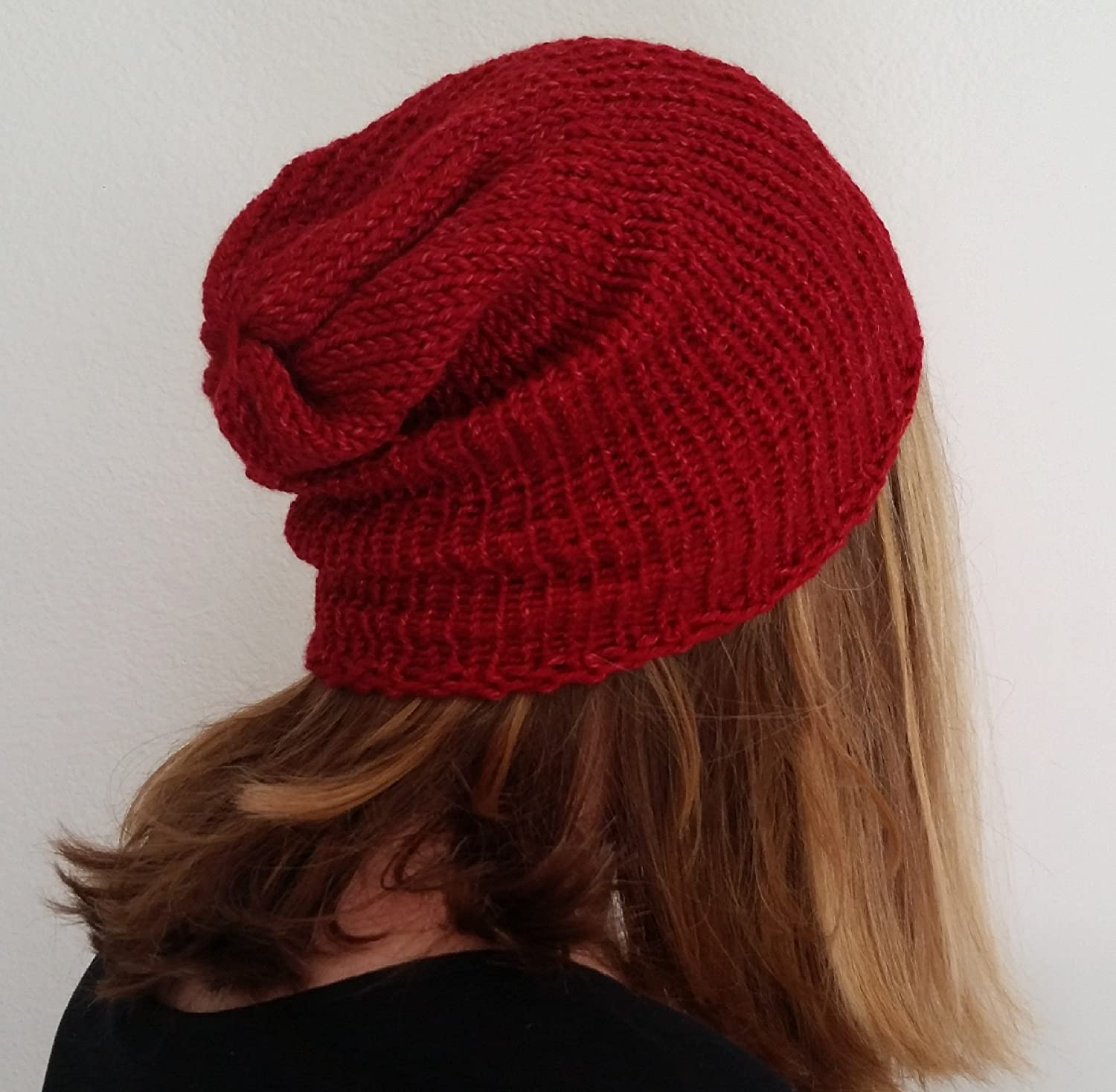 Lightweight Red Ribbed Unisex Alpaca Slouchy Beanie Hat