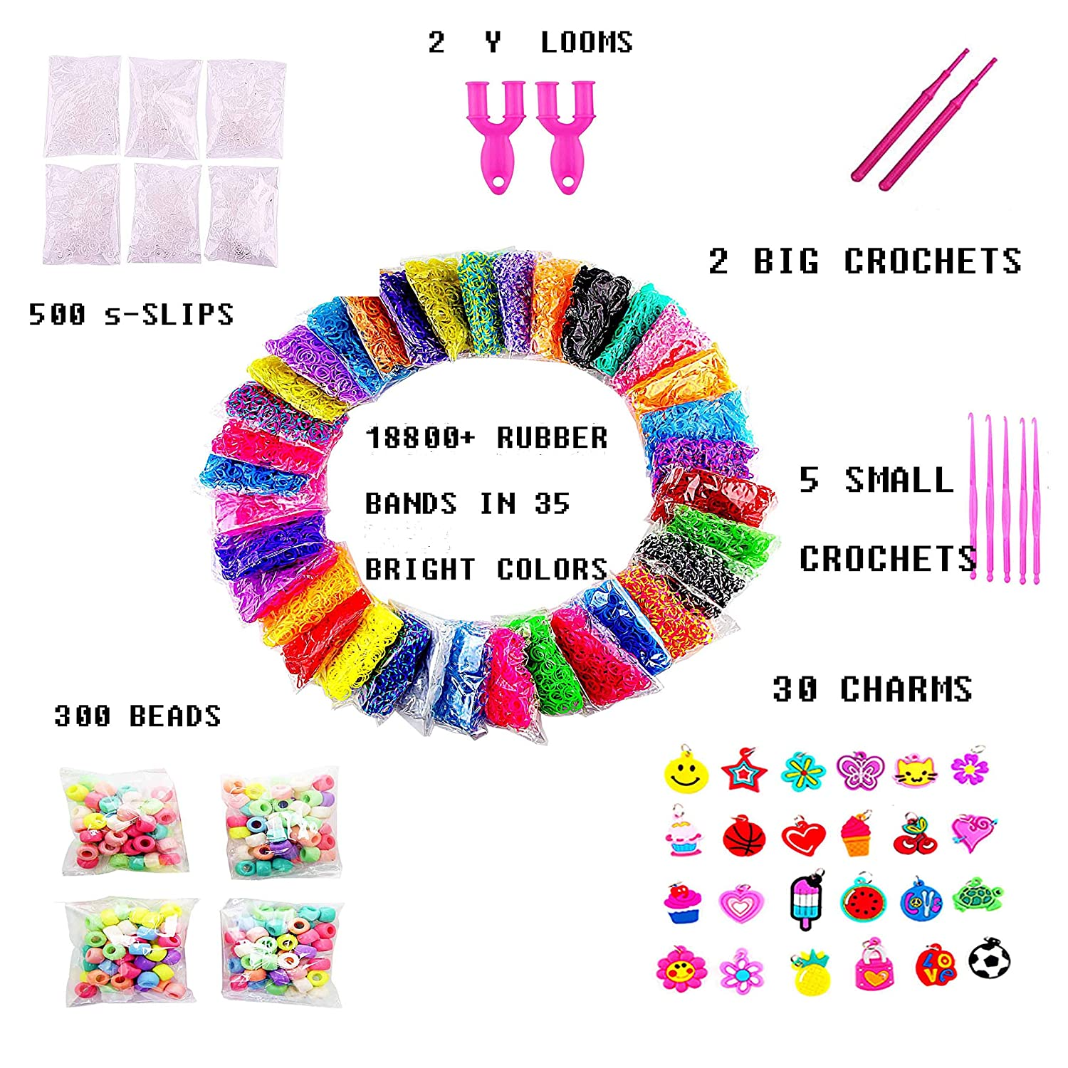 Rubber Loom Bands, 18800+ Mega Rainbow Rubber Bands Refill Kit for on