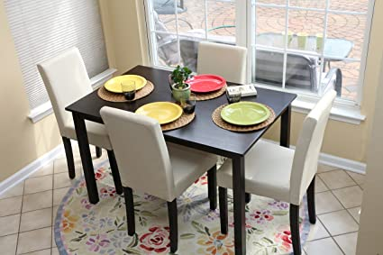 Bon 5 PC Ivory Leather 4 Person Table And Chairs Ivory Dining Dinette   Ivory  Parson Chair