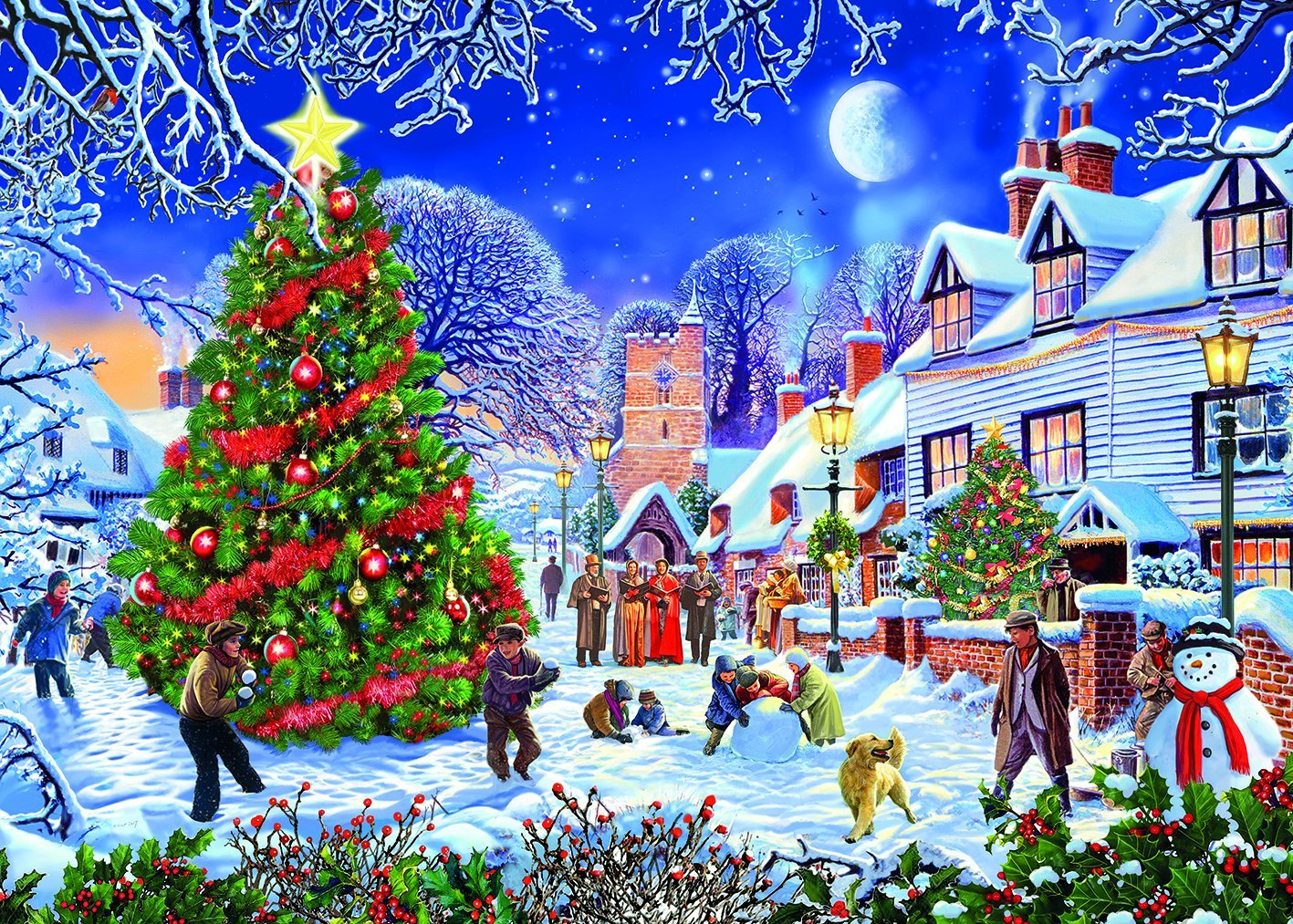 Gibsons The Village Christmas Tree Jigsaw Puzzle, 500 XL piece ...