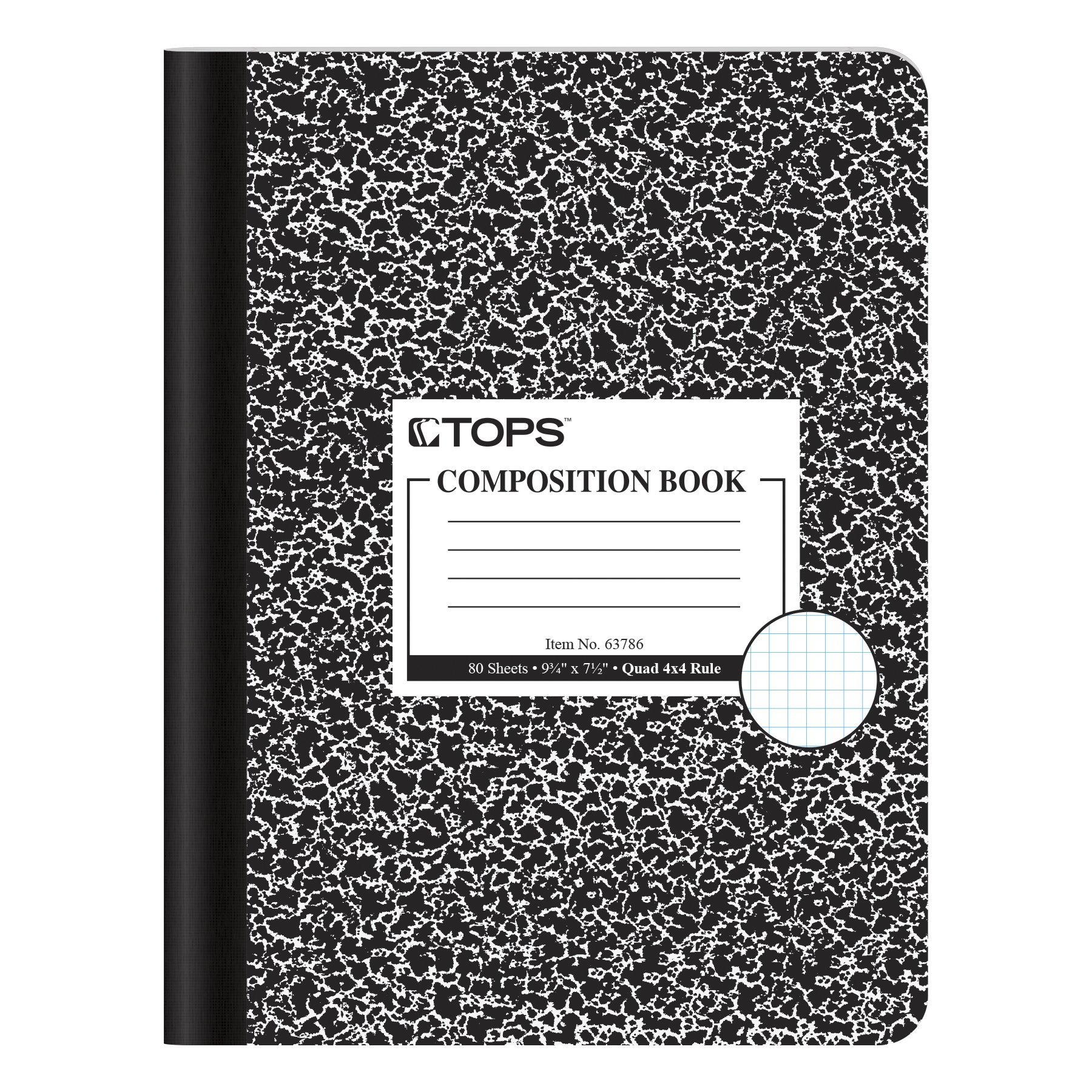TOPS Composition Book, 9-3/4 x 7-1/2, Graph Rule, Black Marble Cover, 80 Sheets, Box of 12 Books (63786)