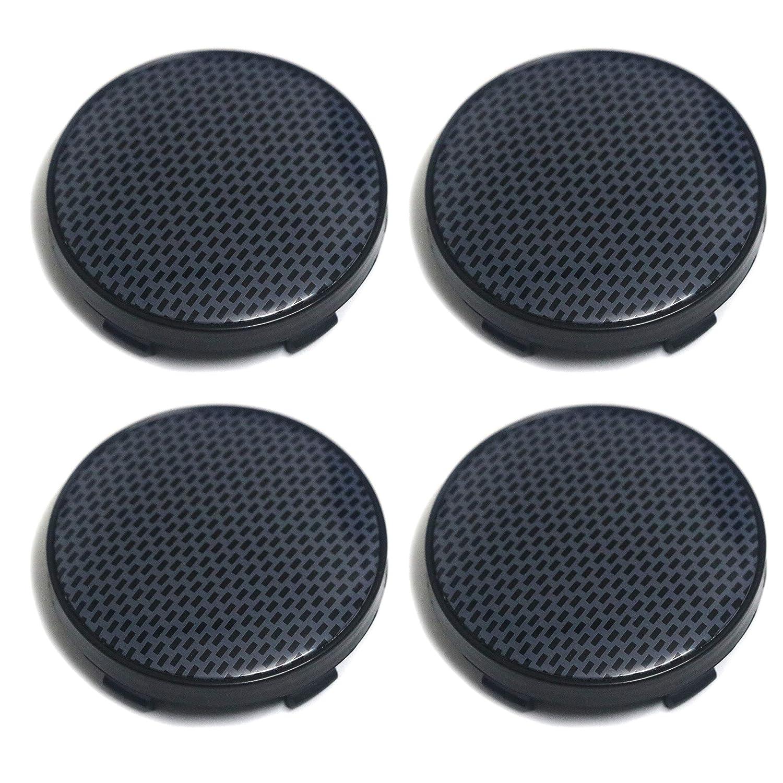 PT-Decors 1 Lot de 4 enjoliveurs de Roue Noirs 60 mm avec Motif Grille en Fibre de Carbone pour Voiture//Voiture//Voiture